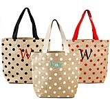 Personalized Polka Dot Natural Jute Tote Bags (3 Colors)