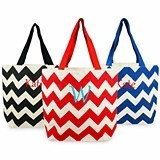 Personalized Chevron-Pattern Parchment Jute Tote Bag (3 Colors)
