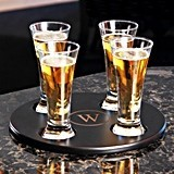 Monogrammed Round Beer Flight Sampler Set with Mini Pilsner Glasses
