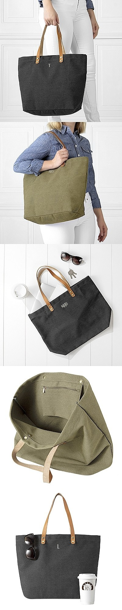 Personalizable Washed Canvas Tote Bag with Leather Handles (2 Colors)