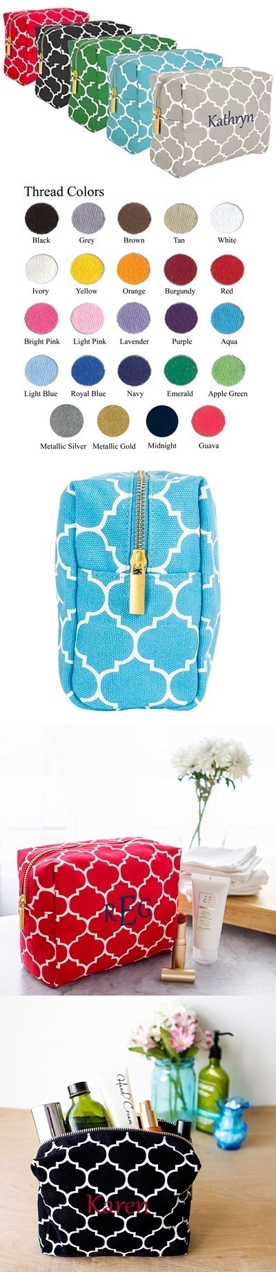 Cathy's Concepts Personalized Moroccan Lattice Cosmetic Bag (5 Colors)