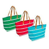 Cathy's Concepts Personalizable Striped Canvas Tote w/ Leather Handles