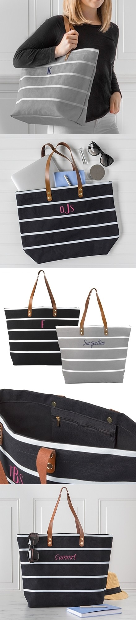 Cathy's Concepts Personalizable Large Striped Tote Bag (Black or Grey)