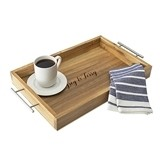 Cathy's Concepts Personalized Acacia-Wood Tray with Metal Handles