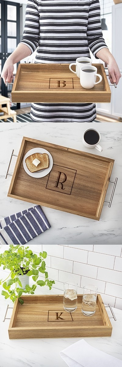 Cathy's Concepts Monogrammed Acacia-Wood Tray with Metal Handles