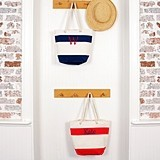Cathy's Concepts Striped Canvas Totes with Rope Handles (Navy or Red)
