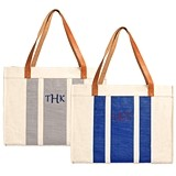 Personalizable Stitched-Stripe Canvas Tote with Leather Handles