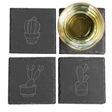Cathy's Concepts Desert Chic Cactus Designs Slate Coasters (Set of 4)
