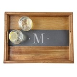 Cathy's Concepts Monogrammed Acacia-Wood Tray with Slate Insert