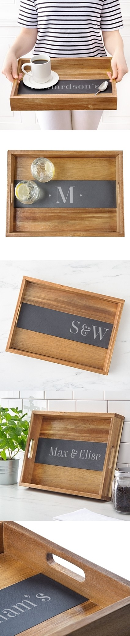 Cathy's Concepts Personalized Acacia-Wood Tray with Slate Insert
