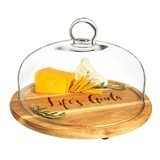 Cathy's Concepts Personalizable Acacia Wood Tray with Glass Dome