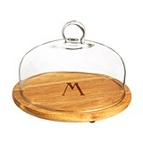 Cathy's Concepts Monogrammed Acacia Wood Tray with Glass Dome Set