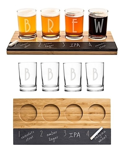 Cathy's Concepts Personalized Bamboo & Slate Craft Beer Tasting Flight