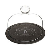 Cathy's Concepts Monogrammed Slate Serving Tray with Glass Dome Lid