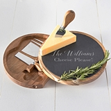 Cathy's Concepts Personalized Slate & Acacia Cheese Board w/ Utensils
