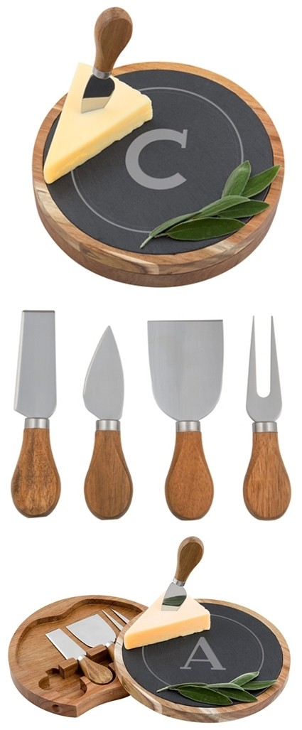 Cathy's Concepts Monogrammed Slate & Acacia Cheese Board w/ Utensils