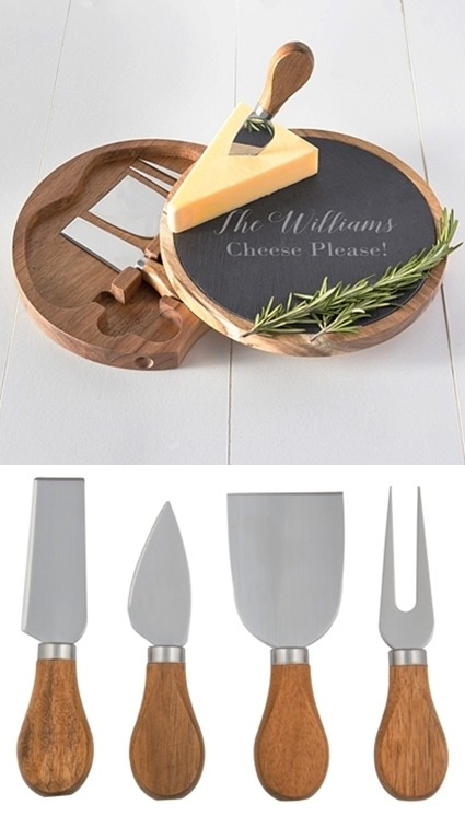 Cathy's Concepts Personalized Slate & Acacia Cheese Board w/ Utensils | Personalized Gifts and Party Favors