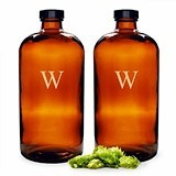 Cathy's Concepts Monogrammed 16 oz. Amber Bullet Growlettes (Set of 2)