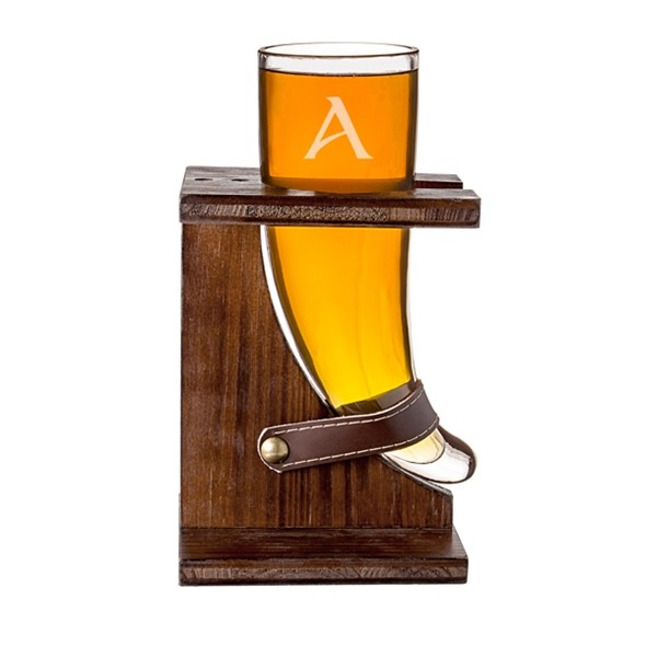 Personalized 16 oz. Viking Horn Beer Glass with Rustic Stand