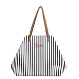 Cathy's Concepts Personalized White-and-Navy Striped Overnight Tote