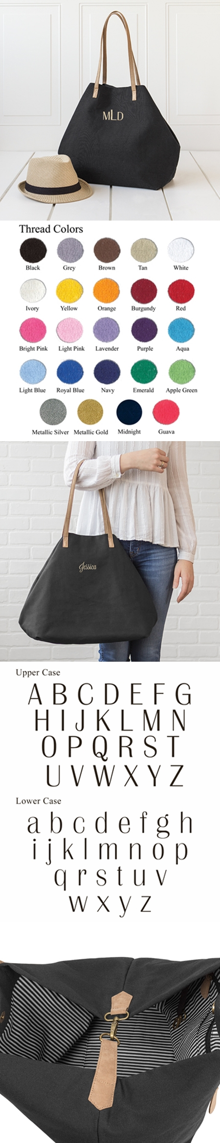 Cathy's Concepts Personalizable Black Canvas Overnight Tote