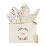 Cathy's Concepts Personalizable Floral Wreath Motif Canvas Clutch