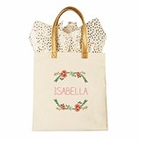 Cathy's Concepts Personalizable Floral Wreath Motif Canvas Tote