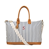 Cathy's Concepts Personalized White-and-Navy Striped Weekender Tote