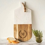Cathy's Concepts Monogrammable Marble & Acacia-Wood Serving Board