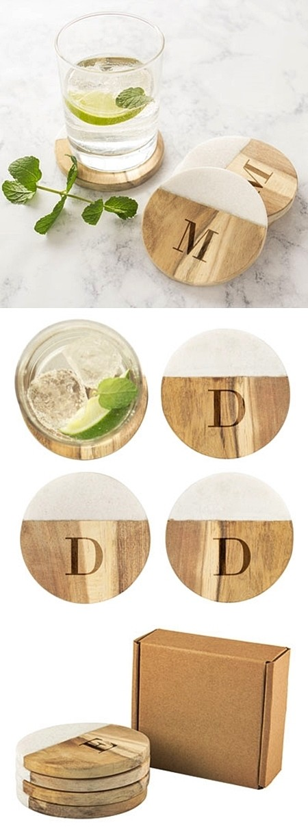 Cathy's Concepts Personalized Marble & Acacia-Wood Coasters (Set of 4)