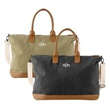 Personalizable Washed Canvas Weekender w/ Zippered Pockets (2 Colors)