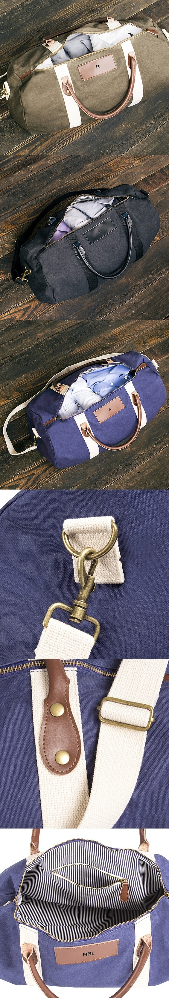 Personalized Waxed Canvas & Leather Duffle Bag (3 Colors)