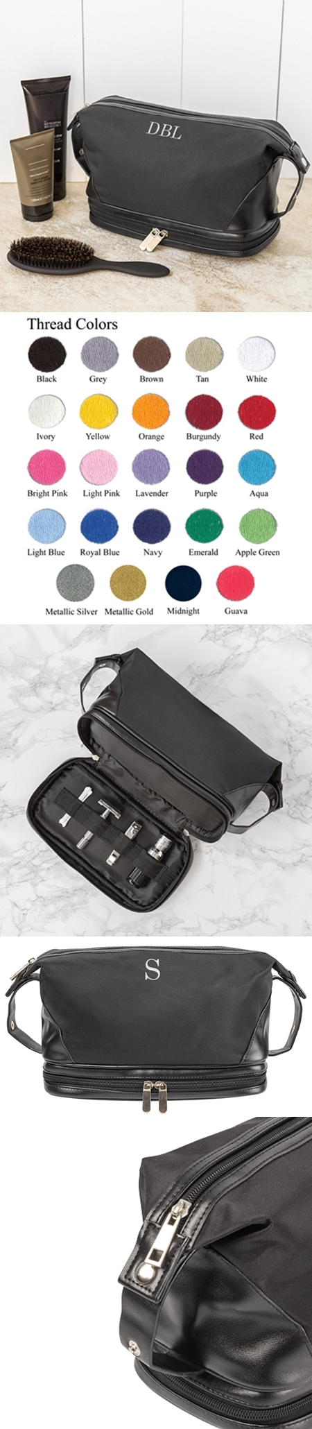 Personalizable Black Microfiber Toiletry Bag with Bottom Compartment