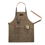 Personalizable Waxed Canvas Apron/Work Smock with Leather Accents