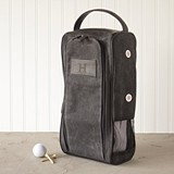 Personalizable Men's Black Waxed Canvas Golf Shoe Bag
