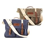 Cathy's Concepts Personalized Waxed Canvas and Leather Messenger Bag
