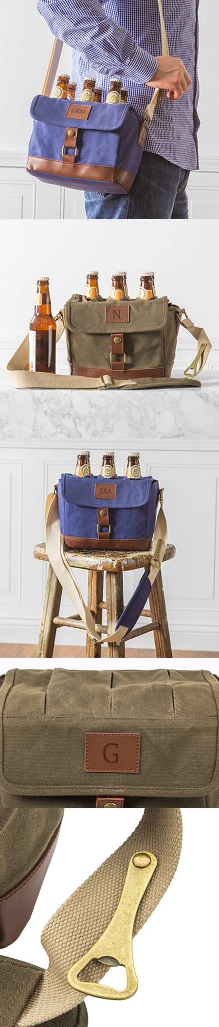 Personalized Insulated Waxed Canvas 6-Pack Bottle Carrier (2 Colors)