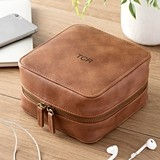 Personalized Brown Vegan-Leather Travel Tech Case