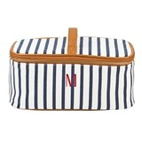 Cathy's Concepts Personalized White-and-Navy Striped Cosmetic Case