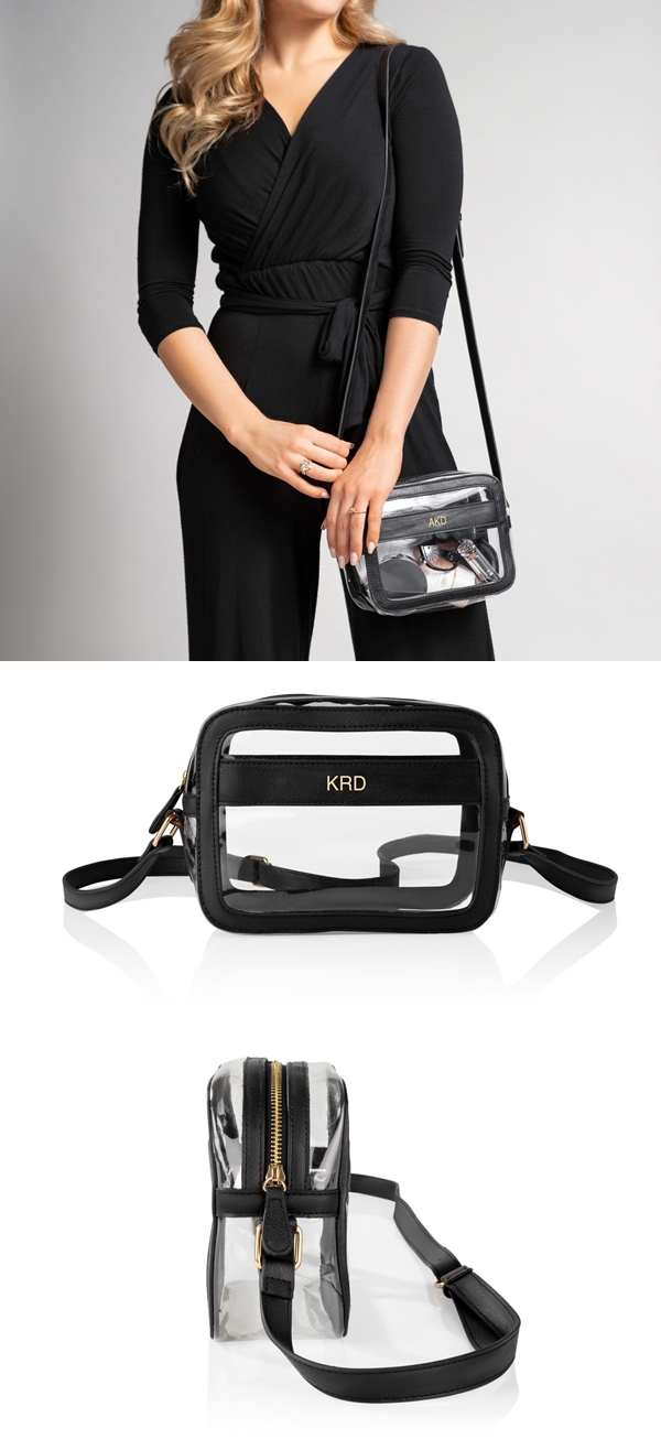 Cathy's Concepts Personalized Clear Stadium Bag in Black Vegan Leather