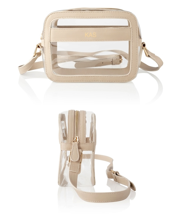 Cathy's Concepts Personalized Clear Stadium Bag in Cream Vegan Leather
