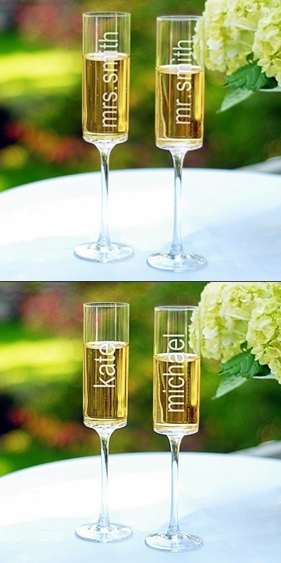 Fantastic 8 oz Vertical-Personalization Engraved Glass Toasting Flutes