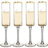 Personalized 8 oz Gold-Rimmed Contemporary Champagne Flutes (Set of 4)