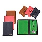 Personalized Leather Passport Holder & Luggage Tag Set (4 Colors)