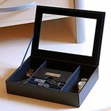 Handsome Glass-Topped Personalized Leather Dresser Valet Box
