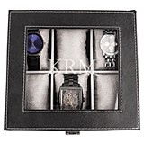 Personalized Men's Black Leatherette Watch Box w/ Hand-Stitched Edging