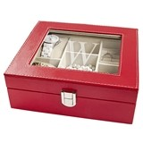 Personalized Red Leatherette Jewelry Box with Hand-Stitched Edging