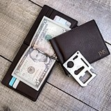 Personalized Leather Wallet with Money Clip and Multi-Function Tool