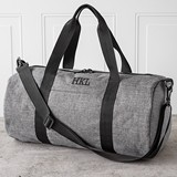 Personalized Grey Duffle Bag with Black Handles and Shoulder Strap