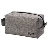 Personalized Unique Grey Zippered Dopp Kit with Leather Handle